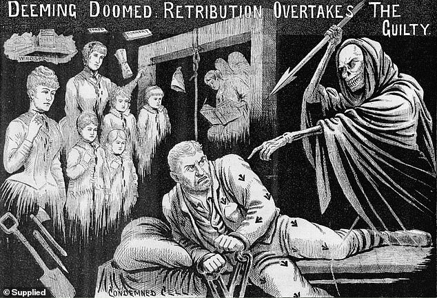 Author Garry Linnell's investigation into Frederick Deeming's extraordinary life and crimes turned into an unnerving journey into a gothic world filled with claims of ghostly possession and powerful people who believed they could speak with the dead. Pictured is how London's Illustrated Police News depicted Deeming in 1892