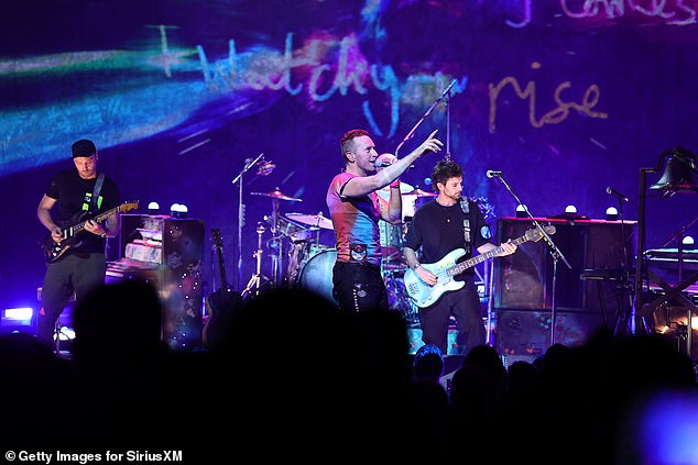 Team: Frontman Chris, 44, along with band members Jonny Buckland, 44, Guy Berryman, 43, Will Champion, 43, and Phil Harvey, 45 sang their biggest hits while their beloved fans sang with them.