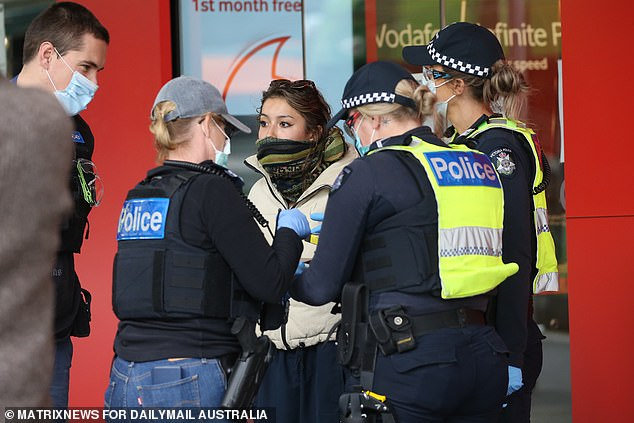 Tensions have been high all week in Melbourne's CBD, with residents protesting mandatory vaccinations for building sector workers (pictured)