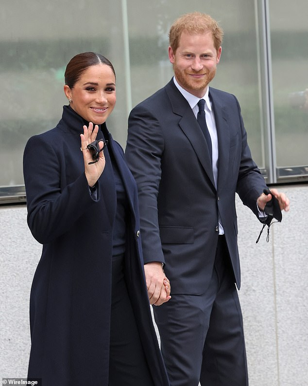 According to Laura Kay, the 40-year-old Duchess of Sussex debuted a 'dramatic' look for her first public outing with the Duke (pictured together), 37, since moving to California last year.