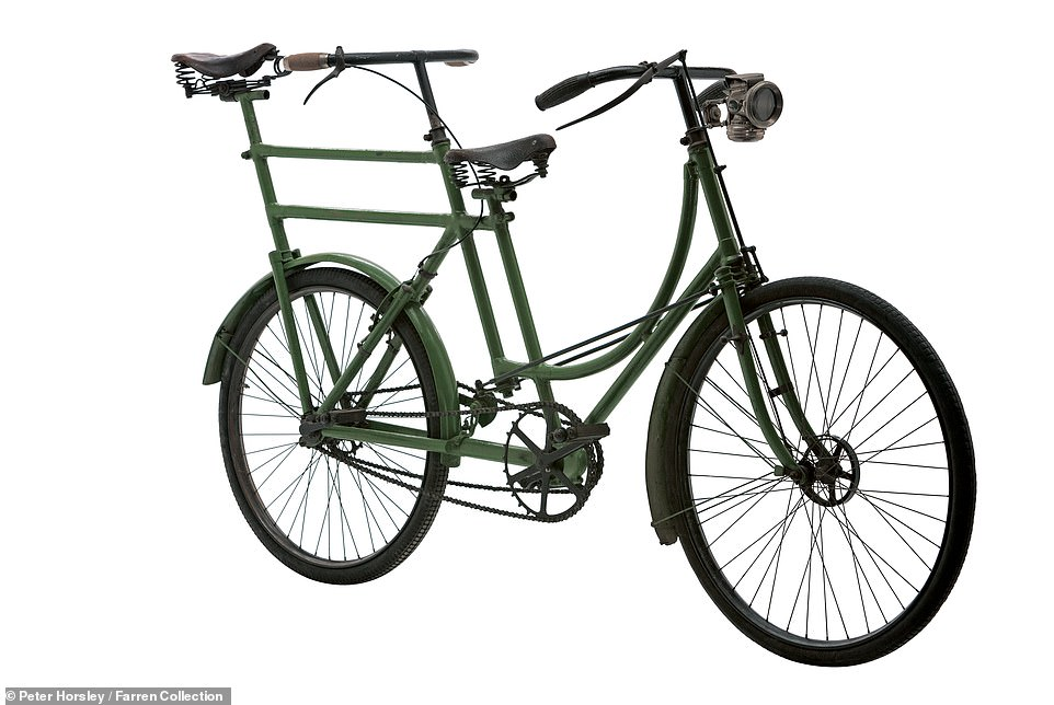 This is a 'Donkey Back' or 'Man over' Tandem, which dates to 1898 and was made by the renowned-at-the-time Chater-Lea company of London. Mr Farren explained that the rider at the rear couldn't ride the bike alone as it would tip backwards. To start riding, the person at the front would sit with both feet on the pedals and the rear rider would push-start the machine and hop on. It could be steered from the rear as well as the front