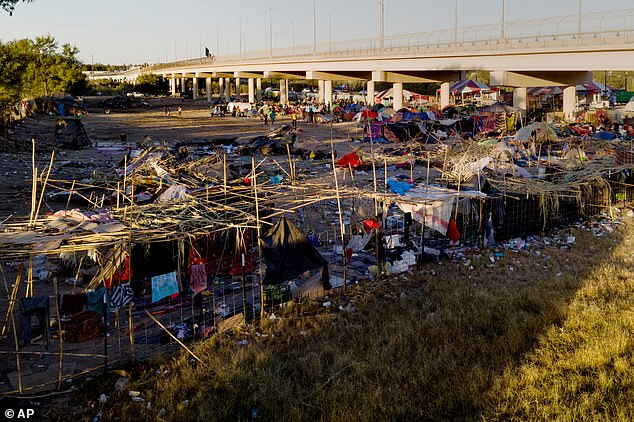 The remnants of the encampment near the Del Rio International Bridge are seen on Friday after it was largely cleared out