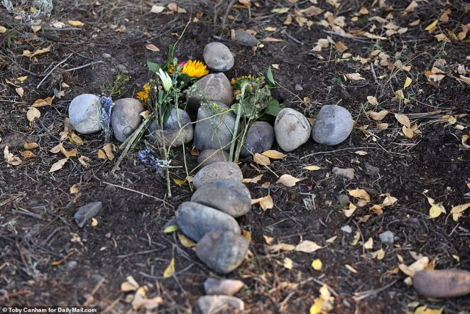 The markers at the Spread Creek campsite in Wyoming is about 100 yards from the memorial cross made of rocks where Gabby's body was found