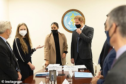Meghan and Harry wrapped up their first day in the Big Apple Thursday by hosting a meeting on vaccine equity with Chelsea Clinton and health officials at the WHO building
