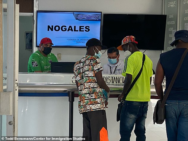 Others were seen buying tickets to Nogales – a Mexican border city that is just 68 miles south of Tucson, Arizona