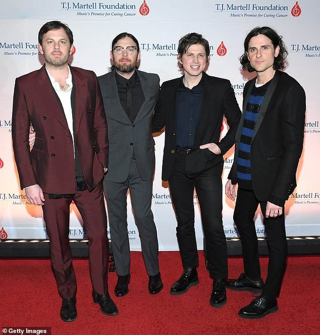 Tragic news: The rock band Kings Of Leon are n mourning following the death of their beloved mother Betty Ann Murphy; the band are picture left to right, Caleb Followill, Nathan Followill, cousin Matthew Followill and Jared Followill