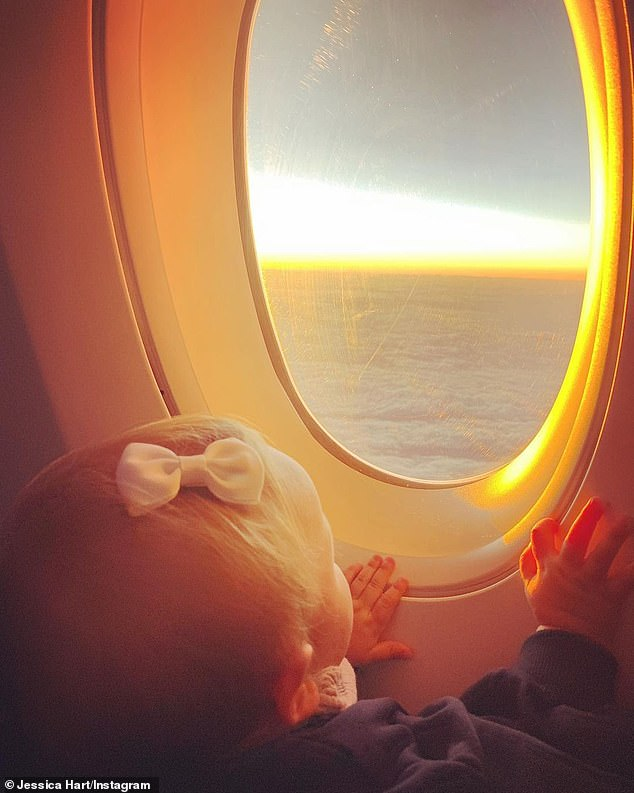 Two days earlier, she posted a photo of herself and her toddler Baby-Rae on their flight back to Australia and captioned it: 'Hello Australia. It's been a while'