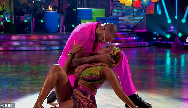 Giving it his all: Ugo pays heartfelt tribute to his father after taking to the dancefloor to perform a lively samba with his professional partner Oti