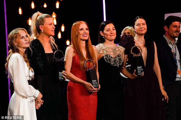Star Power: She looked overjoyed when she received the award and could be seen standing in line at the bash along with other award winners