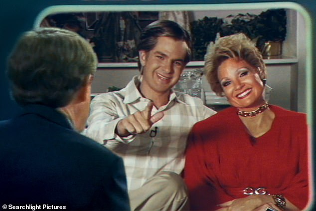 Silver screen: She appeared in the film alongside Andrew Garfield, 38, who played Tammy's televangelist and guilty cheating husband Jim Baker, 81.