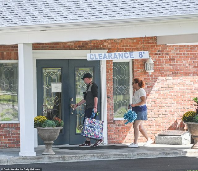 A bag of preparations and ribbons were dropped off at Moloney's Funeral Home in Holbrook, New York on Saturday - two days before a visitation memorial for Petito which will be open to the public