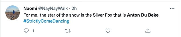 Reaction: One fan said: 'Anton du Becé is doing a great job as a judge on Strictly Come Dancing tonight,' while another swooped in: 'To me, the star of the show is Silver Fox'