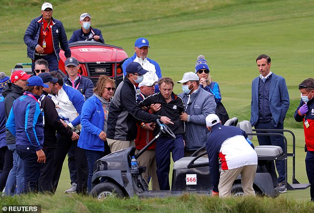 Collapse: The actor gasped from the audience at a Wisconsin event last month when he suddenly collapsed and fell off the course on the 18th hole