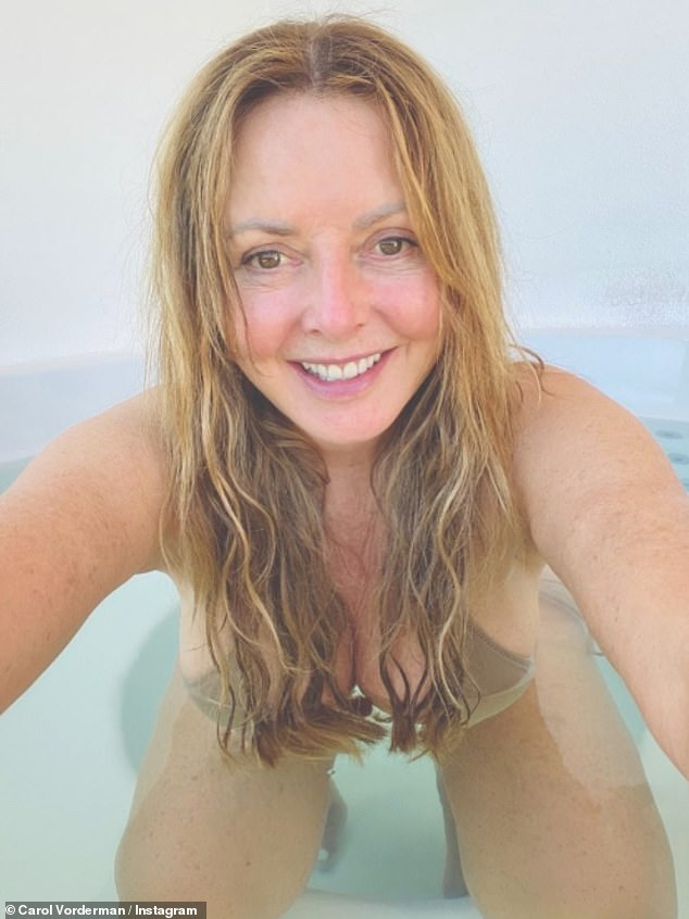 Wow!  Carol Werderman, 60, turned up the temperature on Tuesday for a steamy hot tub Instagram selfie showing off her ample assets in a nude bikini