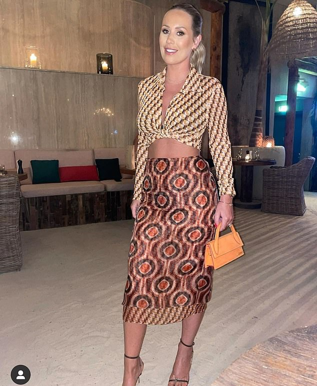 Wow!  Kate Ferdinand, 31, showed off her workout physique to her Instagram followers on Sunday, as she stepped out in a patterned crop top and midi skirt set