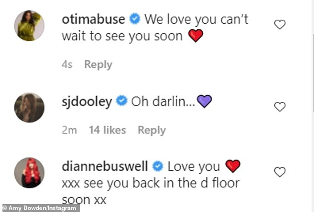 Support: Many celebrities were quick to comment on the post, with fellow professional dancer Oti Mabuse writing: 'We love you can't wait to see you soon'