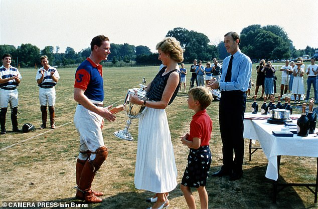 Regal gifts: Princess Diana presents a polo cup to Major James Hewitt at Windsor in 1991
