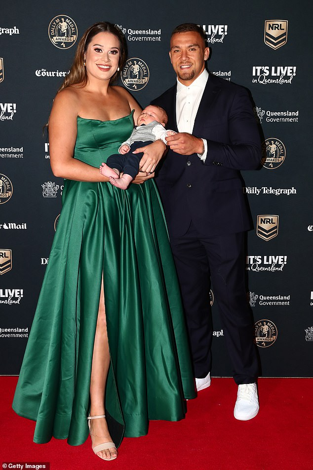 A family matter!  James Fisher-Harris of the Penrith Panthers and his longtime girlfriend Natalie Apikotoa adored their NEWBORN SON (all pictured) on the Dally M Award red carpet in Brisbane on Monday night