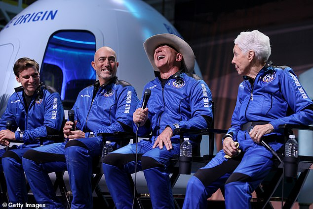 Pictured from left to right: Dutch teenager Oliver Daemen, Mark Bark Bezos, Jeff Bezos and Wally Funkd. Blue Origin's first flight occurred on July 20