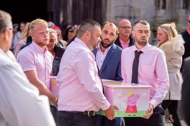 Hundreds of mourners gathered outside St Mary Magdalene Church in Newark today to remember Louisiana Brooke Dolan, who died in the incident at a park in Ingoldmells, Lincolnshire, on August 23