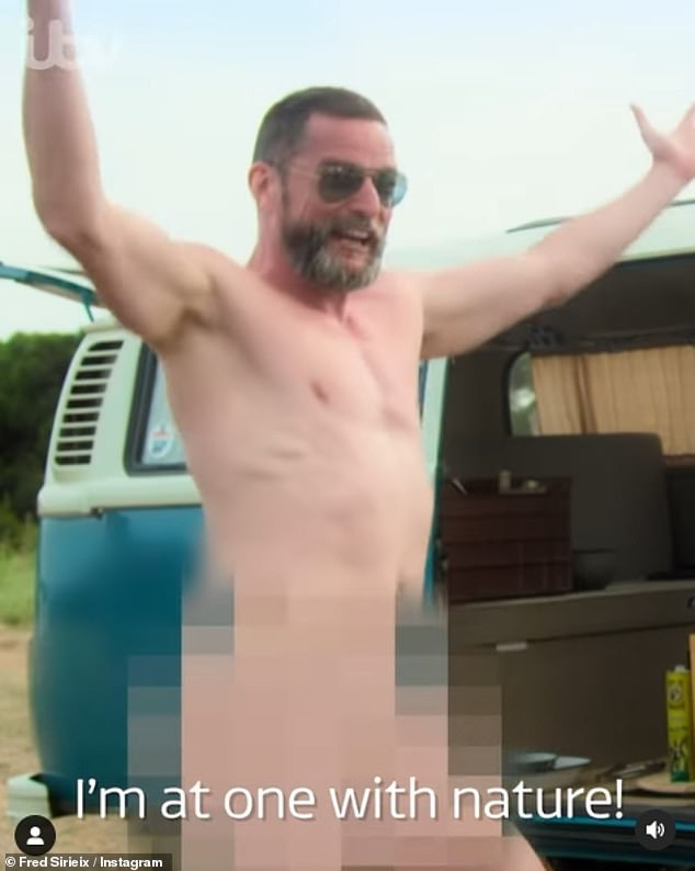 Shock: Fred Sirieaux's Instagram followers got a little more than they bargained for, as Maitre D took off his birthday suit for a cheeky video on Monday.