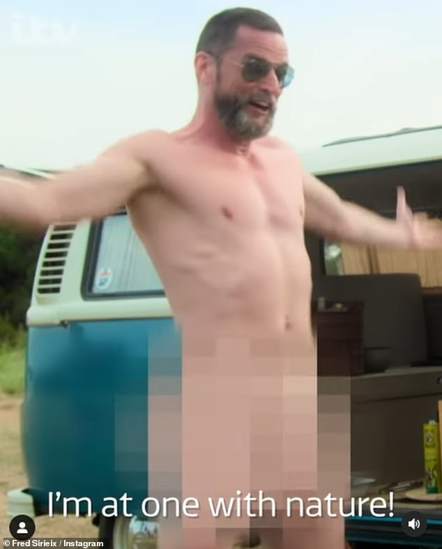 Hilarious: In a sneak peek of the upcoming series from Gordon, Gino and Fred Go Greek, the 49-year-old gets completely naked while leaping around a barbecue