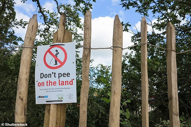 Pictured, a sign at Glastonbury Festival 2019 advising attendees not to urinate on the ground