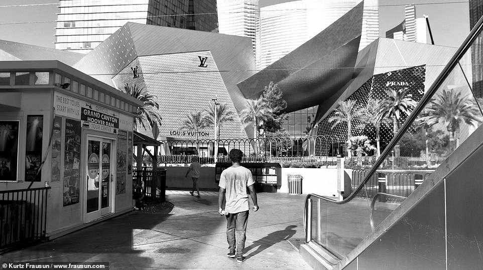 Juxtaposition: The pricey designer stores on the strip were offset by the people who were suffering and begging for scraps on the Las Vegas Strip