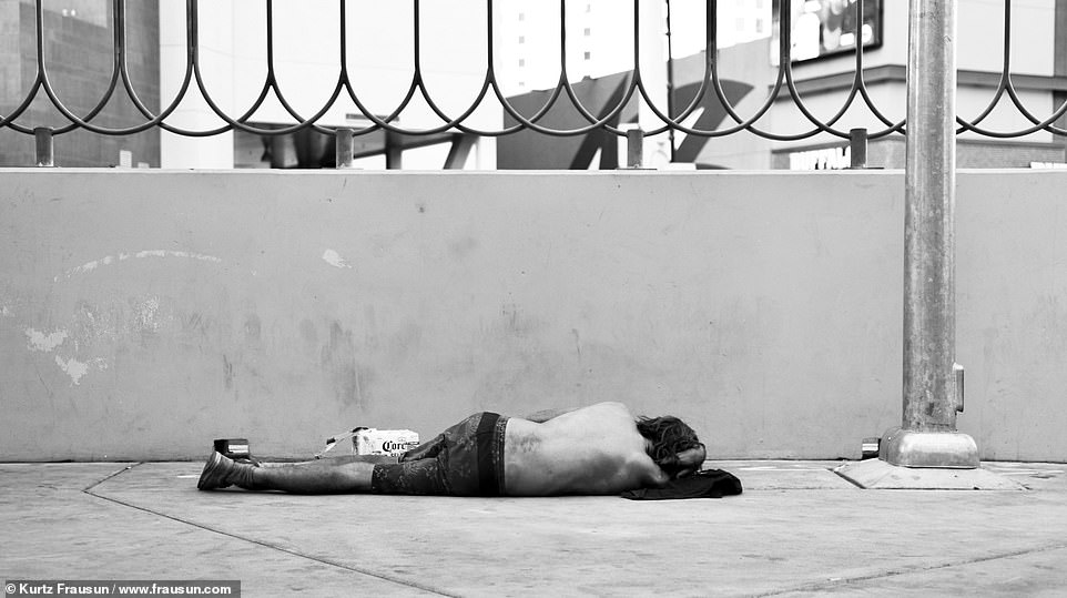 The dark side: The filmmaker and photographer from Dallas, Texas, was on his honeymoon with his wife when he was inspired to capture the stark contrast between the 'Haves and Have-Nots' in Las Vegas