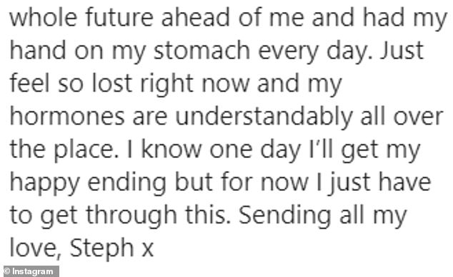 Devastating: She captioned it with a short video detailing her miscarriage
