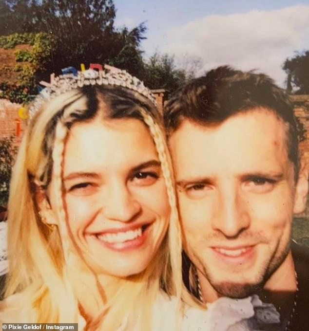 Sweet: Pixie has been married to These New Puritans drummer George since 2017, when the couple tied the knot in a lavish ceremony in Mallorca.