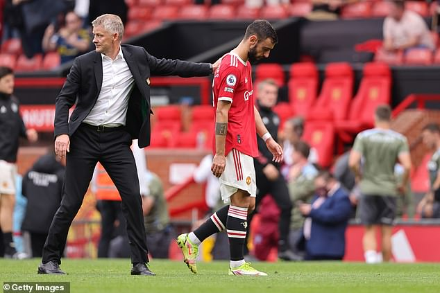 Solskjaer (left) defended Bruno Fernandes (right) after his late penalty miss in the loss to Villa