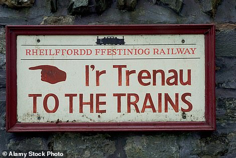 A sign leading the way to the Ffestiniog Railway in Wales