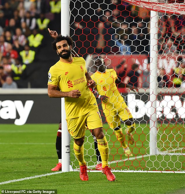 Salah scored his 100th Premier League goal for Liverpool in their 3-3 draw with Brentford