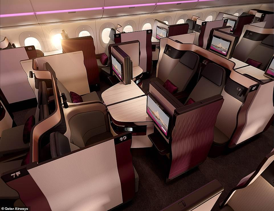 Groaning trophy cabinet: Qatar Airways scoops the gong forWorld's Best Business Class (pictured above)