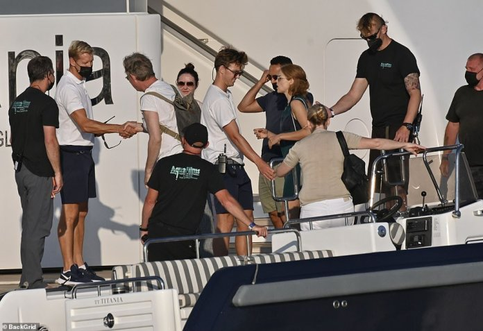 Jovial: Khalid was accompanied by multiple crew members as well as his wife Cressida Trew, and Welsh actress Erin Richards, whose role in the series is not yet known