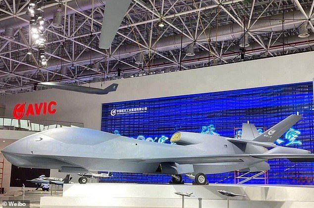 Another drone, the WZ-7 (pictured), known as the 'Guizhou Soar Dragon', was also showcased at the air show.