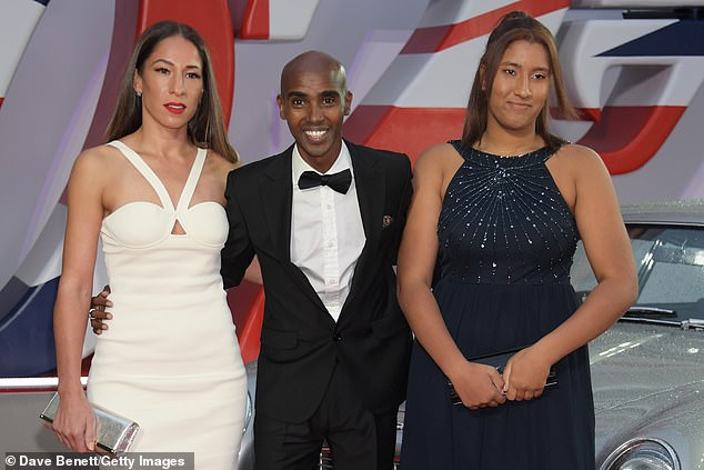Night out:Mo Farah dressed to impress on Tuesday night as he joined wife Tania Nell and daughter Rhianna at the No Time To Die world premiere at London's Royal Albert Hall