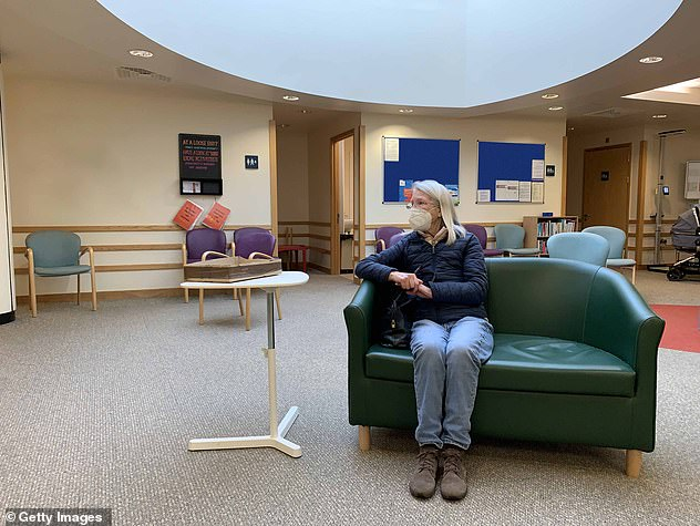 Analysis of NHS figures shows a huge variation in access, with one practice conducting fewer than one in six appointments with doctors in the same room, while at others the figure is nine in ten. Pictured: a woman waits for an appointment