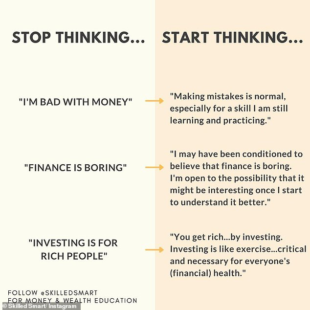The expert said you need to stop telling yourself that you're 'bad with money' as we are all learning to some degree (what you need to stop doing pictured)