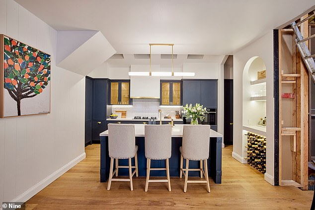 Bon appetit! The Block's jaw-dropping kitchens were finally unveiled over the weekend. Pictured: Kirsty and Jesse's effort