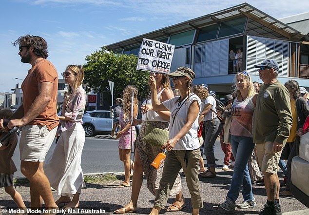 The Byron, Tweed and Kempsey shires were released from lockdown overnight, with Byron reintroduced into the Queensland border bubble (pictured, freedom rally in Byron on September 18)