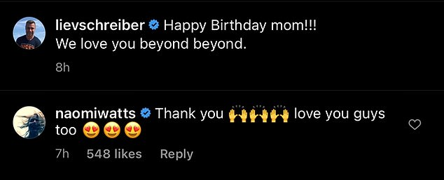 On good terms:Naomi replied after being tagged in the post, writing underneath: 'Thank you. Love you guys too'