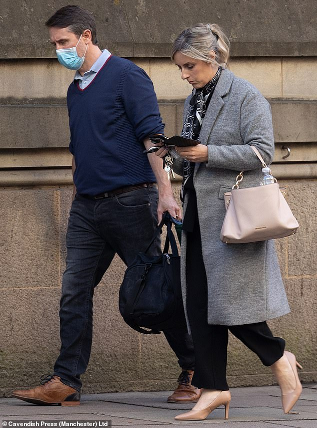 Staunton (pictured outside court with his wife Louise) was sentenced to eight months imprisonment, suspended for two years, and was ordered to pay £16,529 costs which will be met by his insurers