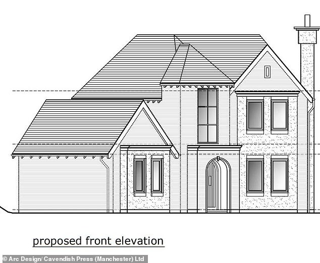 Plans showing the proposed front elevation for the home. Inquiries revealed the fixed scaffolding frame around the snug had been dismantled by Staunton in the days leading up to the tragedy after another roofer contracted to work on the site did not think it was needed