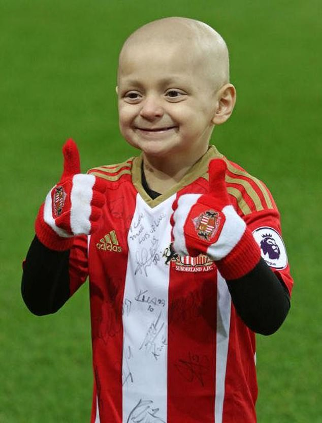 Bradley touched the hearts of the nation during his brave battle with neuroblastoma and his close friendship with Sunderland and England star Jermain Defoe