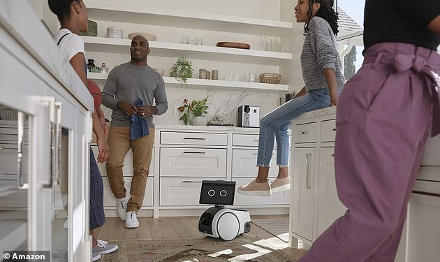 A $1,450 Alexa-powered bot called Astro (pictured) was unveiled yesterday by the company as an autonomous device that can monitor a person's home while they're not there