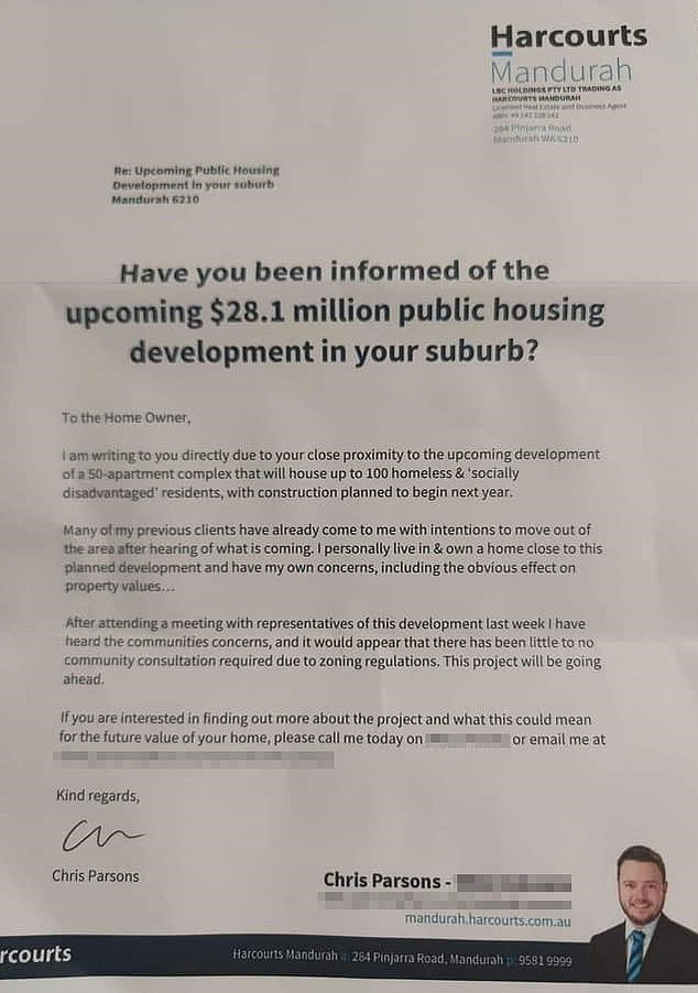 Real estate agent spams households with offensive warning about new development to house homeless and 'socially disadvantaged' people
