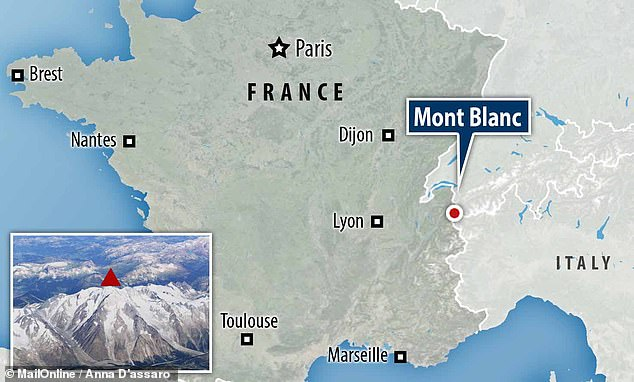 The Alpine summit (inset), which lies on the border of France and Italy (pictured), was measured in mid-September at 15,773.65 feet – down from 15,776.64 feet four years earlier