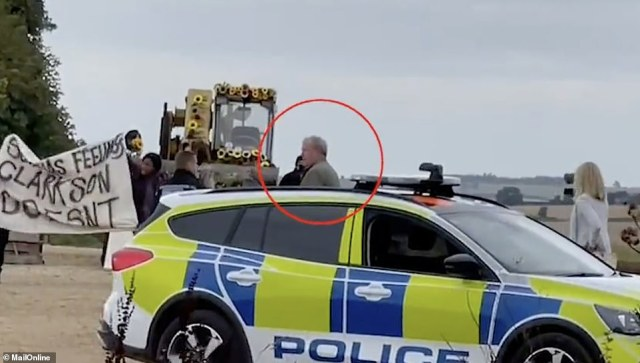 The former Top Gear host stood next to a police patrol car seemingly unable to comprehend what was going on at his farm. The joke was eventually revealed after the star had seeming fallen for the joke.